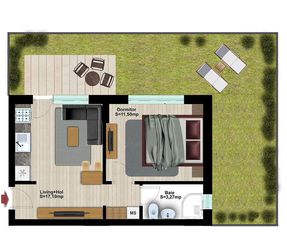 Studio 2 Camere cu Grădină