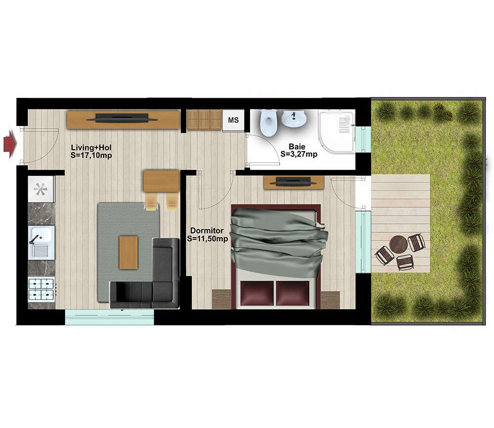 Studio 2 Camere cu Gradină