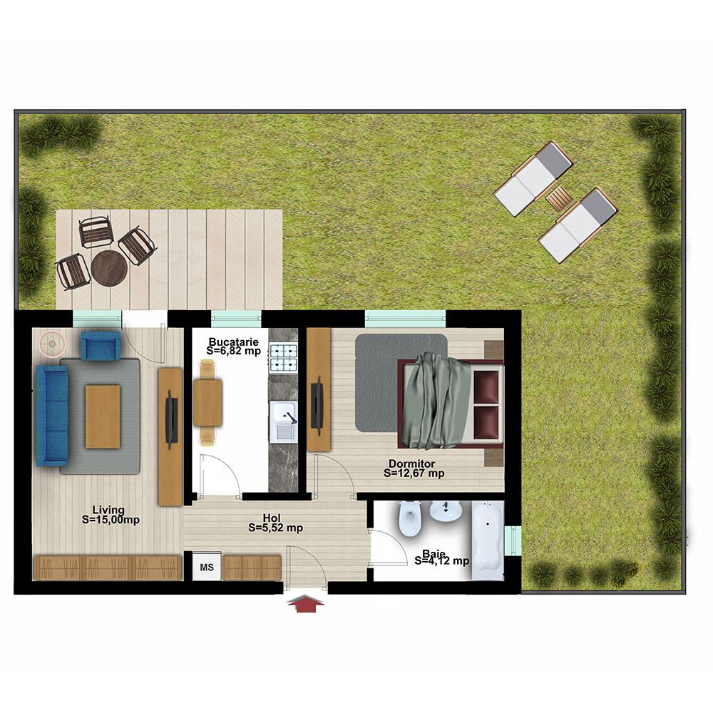 Apartament 2 Camere cu Grădină